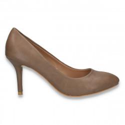 Pantofi femei, cu toc, model simplu, taupe - LS532