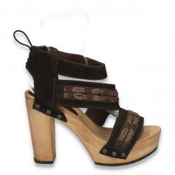Sandale dama,din piele, cu platforma si toc masiv din lemn, maro - LS533