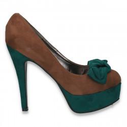 Pantofi inalti, imitatie velur, cu fundita, maro-verde - LS534