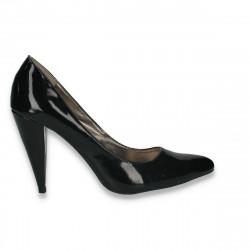 Pantofi stiletto, din lac, negri - LS535
