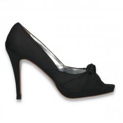 Pantofi dama din satin, eleganti, negri - LS537