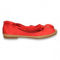 Balerini fashion din satin, cu panglica, rosii - LS541