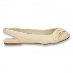 Balerini dama, eleganti, cu calcai decupat, bej - LS546