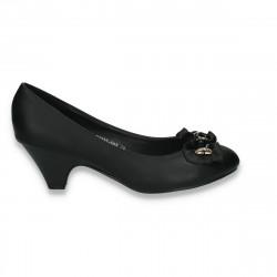 Pantofi femei cu toc mic, negri - LS547