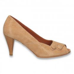 Pantofi femei, din piele, cu toc mic, camel - LS551