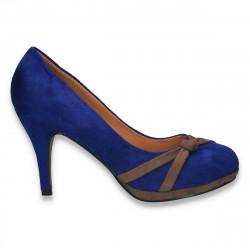 Pantofi femei cu platforma si nod decorativ, albastru-maro - LS552