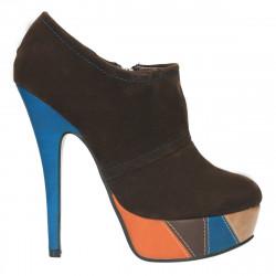 Pantofi dama inalti, cu platforma colorata, maro- LS555