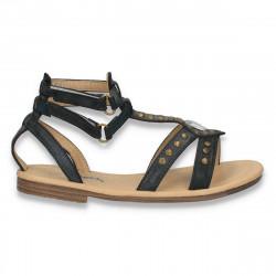 Sandale fete, din piele eco, negre - LS561