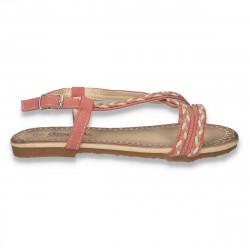 Sandale fete, cu barete impletite, roz - LS562