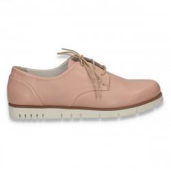 Pantofi dama casual, din piele, Bata, roz - W166