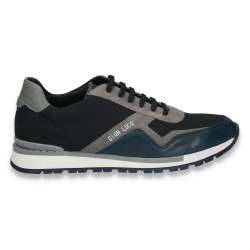 Sneakers barbati din piele, bleumarin-gri - W174