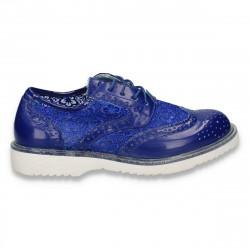 Pantofi fete in stil Oxford, cu dantela, albastri - W191
