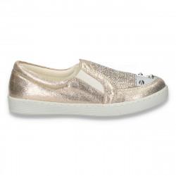 Pantofi glami pentru fete, cu strasuri, aurii - W203