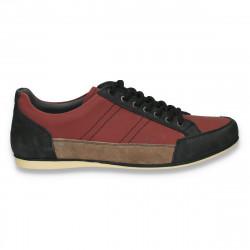 Sneakers, moderni, din piele, pentru barbati, negru-Bordeaux - W206