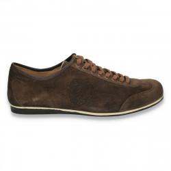 Sneakers moderni, din piele intoarsa, pentru barbati, maro - W206