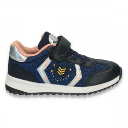 Sneakers fashion pentru fete, cu sclipici, albastru-negru - W209