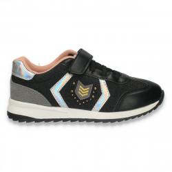 Sneakers fashion pentru fete, cu sclipici, negru - W210