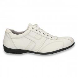 Pantofi casual barbati, din piele, albi - W212