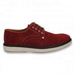Pantofi fashion pentru barbati, din catifea, Bordeaux - W214