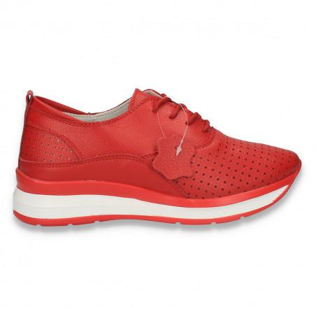 Pantofi casual dama, din piele, cu siret si perforatii, rosii - W216