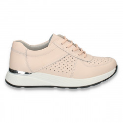 Pantofi casual dama, din piele, cu siret si perforatii, roz - W217