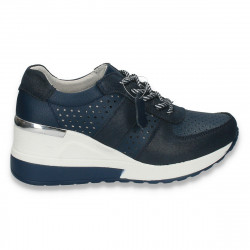 Pantofi casual dama, din piele, cu siret si perforatii, bleumarin - W220