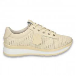 Pantofi casual dama, din piele, cu siret si perforatii, bej - W223