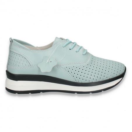 Pantofi casual dama, din piele, cu siret si perforatii, verde-menta - W224