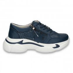 Pantofi casual dama, din piele, cu talpa groasa si perforatii, bleumarin - W225