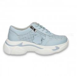 Pantofi casual dama, din piele, cu talpa groasa si perforatii, albastru deschis - W226