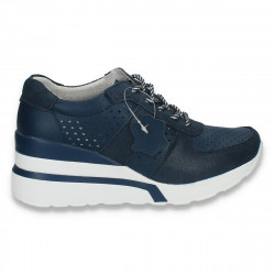 Pantofi casual dama, din piele, cu siret si perforatii, bleumarin - W228
