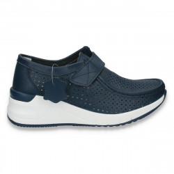 Pantofi casual dama, din piele, cu scai si perforatii, bleumarin - W229