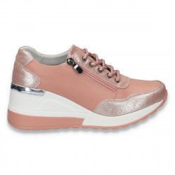 Pantofi casual dama, din piele, cu siret si platforma, roz - W231