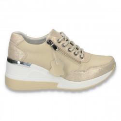 Pantofi casual dama, din piele, cu siret si platforma, bej - W232