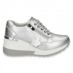 Pantofi casual dama, din piele, cu siret si platforma, bej - W233