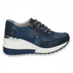 Pantofi casual dama, din piele, cu siret si platforma, bleumarin - W234