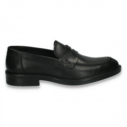 Pantofi barbati din piele, fara siret, eleganti, negri - W239
