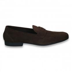 Pantofi barbati din piele intoarsa, fara siret, maro - W240