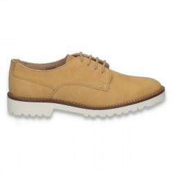 Pantofi femei model clasic, din piele, camel - W242