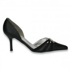Pantofi eleganti, cu varf ascutit, din piele eco, negri - LS568