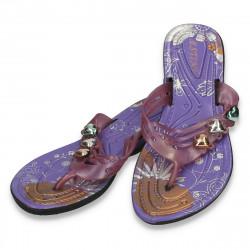 Slapi din silicon, violet, decor inimioare - LS578
