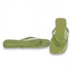 Saboti flip flops, verde cu buline albe - LS585