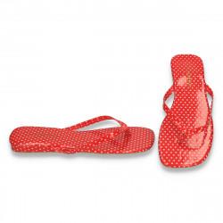 Saboti flip flops, rosu cu buline albe - LS586