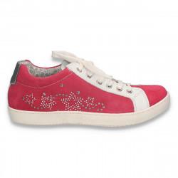 Pantofi casual din piele intoarsa, pentru fete, fucsia - W250