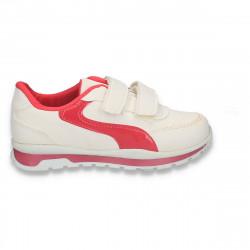 Pantofi sport cu scai, pentru fete, alb-fucsia - W254