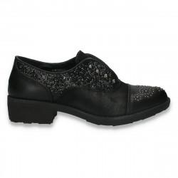 Pantofi dama casual, cu sclipici, negri - W255