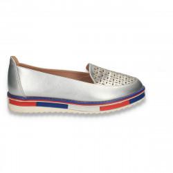 Pantofi dama cu perforatii, argintii - W262