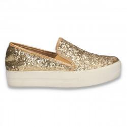 Pantofi glami dama, cu sclipici, aurii - W263
