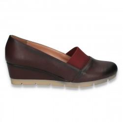 Pantofi dama clasici cu platforma mica, Bordeaux - W270