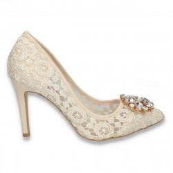 Pantofi stiletto, pentru dama, din dantela, bej - W272